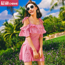 one piece  VICKI·VICKI Female m (recommended 80-100kg) female L (recommended 100-112kg) female XL (recommended 112-125kg) Pink Skirt one piece With chest pad without steel support Spandex polyester others Spring of 2018 female Short sleeve