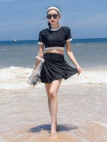 Split swimsuit DUDU&MUMU black Female m (recommended 80-100kg) female L (recommended 100-112kg) female XL (recommended 112-125kg) Skirt split swimsuit With chest pad without steel support Spandex polyester others Y103 Autumn 2020 Short sleeve