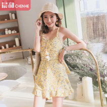 one piece  DUDU&MUMU M (recommended 80-100kg) l (recommended 100-112kg) XL (recommended 112-125kg) Fraxinus fragrans Skirt one piece With chest pad without steel support Spandex polyester others HMN1967YC Autumn of 2019 female Sleeveless Casual swimsuit