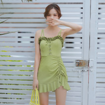 one piece  DUDU&MUMU Female m (recommended 80-100kg) female L (recommended 100-112kg) female XL (recommended 112-125kg) green Skirt one piece With chest pad without steel support Spandex polyester others HMN2077YC Autumn of 2019 female Sleeveless