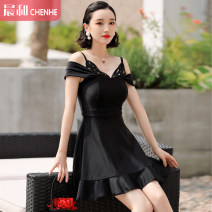 one piece  DUDU&MUMU Skirt one piece Steel strap breast pad Spandex polyester others Autumn of 2019 female Short sleeve Casual swimsuit