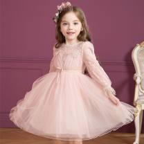 Dress Apricot, pink female Other / other 110cm,120cm,130cm,140cm,150cm Other 100% Solid color cotton Princess Dress 3 months