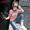 T-shirt Black, red Other / other 160cm,150cm,140cm,130cm,120cm,110cm female Long sleeves Artificial colored cotton stripe 3 months