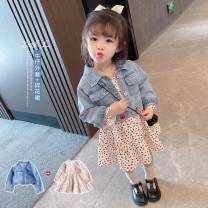 suit Other / other Blue denim + skirt two-piece set, blue denim coat, floral dress 100cm,90cm,80cm,130cm,120cm,110cm female spring and autumn Korean version routine Single breasted Dot Class B 3 months