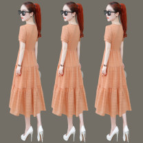 Middle aged and old women's wear Dress routine Medium and long term Korean version Summer 2021 commute singleton  easy Solid color Condom other moderate square neck 96% and above 8208D80X Zuo Xun Other 100% Pure e-commerce (online sales only) Orange green red M L XL 2XL 3XL