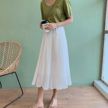 skirt Spring 2021 S,M,L Black, white longuette Versatile High waist A-line skirt Solid color Type A 25-29 years old Chiffon 121g / m ^ 2 (including) - 140g / m ^ 2 (including)