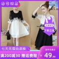 Dress Spring 2021 White dress, black dress, white dress L,XL,2XL,3XL,4XL,5XL Mid length dress singleton  Mingzheng Lace, stitching