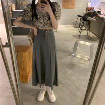 skirt Summer 2021 S. M, average size Top, skirt Mid length dress commute High waist A-line skirt Solid color Type A 18-24 years old Z 81% (inclusive) - 90% (inclusive) Korean version