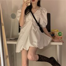 Dress Summer 2021 Dress S, M Short skirt singleton  Short sleeve commute V-neck High waist Solid color Socket A-line skirt routine 18-24 years old Type A Korean version bow Q 81% (inclusive) - 90% (inclusive)