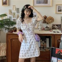 Dress Summer 2020 White flowers Average size Short skirt singleton  Short sleeve commute square neck High waist Broken flowers Socket A-line skirt puff sleeve Breast wrapping 18-24 years old Type A Korean version bow 0415M2 81% (inclusive) - 90% (inclusive) other other