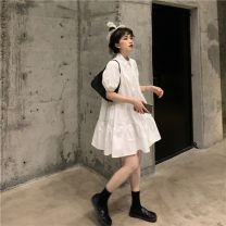 Dress Spring 2021 White, black Average size Mid length dress singleton  Short sleeve commute Polo collar High waist Solid color Single breasted A-line skirt routine Others 18-24 years old Type A Korean version K 81% (inclusive) - 90% (inclusive) other