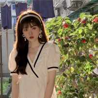 Dress Medium length skirt Short sleeve singleton  commute V-neck High waist Condom routine 18-24 years old A-line skirt Type A Other z Korean version other Summer 2021 81% (inclusive) - 90% (inclusive) One size fits all
