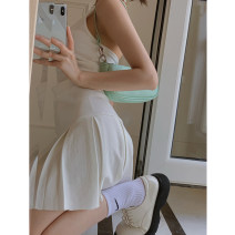 skirt Summer 2021 S, M White, pink, black Short skirt commute High waist A-line skirt Solid color Type A 18-24 years old Q 81% (inclusive) - 90% (inclusive) Korean version