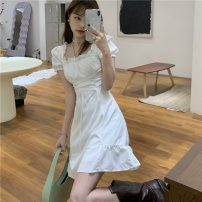 Dress Spring 2021 white S, M Short skirt singleton  Short sleeve commute square neck High waist Solid color Socket A-line skirt routine 18-24 years old Type A Korean version Q 81% (inclusive) - 90% (inclusive)