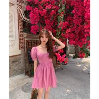 Dress Spring 2021 Smoky powder Average size Middle-skirt singleton  Short sleeve commute square neck Solid color other puff sleeve 18-24 years old Korean version F 81% (inclusive) - 90% (inclusive)