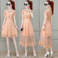 Dress Summer 2020 M,L,XL,2XL Mid length dress Two piece set Short sleeve commute Crew neck High waist Solid color Socket A-line skirt routine Others 30-34 years old Type H Other / other Korean version Splicing, mesh More than 95% Chiffon polyester fiber