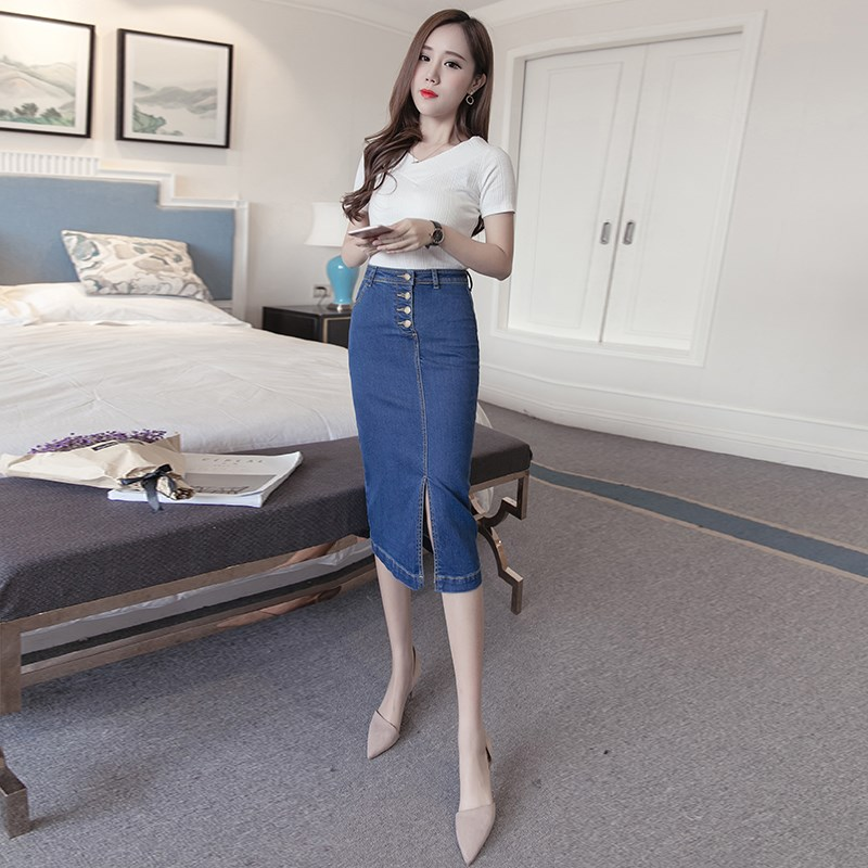 skirt Spring of 2018 XS S M L XL 2XL Picture color Versatile High waist Denim skirt Solid color Type H 25-29 years old Denim Other / other cotton
