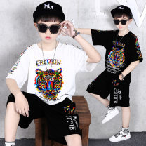 suit Tong Aiqi 110cm 120cm 130cm 140cm 150cm 160cm 170cm male summer Korean version Short sleeve + pants 2 pieces Thin money There are models in the real shooting Socket nothing cotton friend Expression of love Class B Cotton 95% other 5% Chinese Mainland Guangdong Province Guangzhou City
