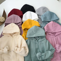 Sweater / sweater Winter 2020 M L XL 2XL 3XL 4XL 5XL Long sleeves Medium length Socket singleton  Plush Hood easy commute routine Solid color 18-24 years old 71% (inclusive) - 80% (inclusive) As fresh as a new life Korean version polyester fiber pocket Polyester 75% cotton 25%