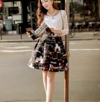 Dress Spring of 2019 Black and white printing S, M