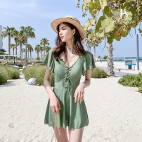 one piece  Hot swim M,L,XL,XXL Grey, green, black Skirt one piece No chest pad Nylon, spandex, polyester N0248 female Short sleeve Casual swimsuit Solid color backless