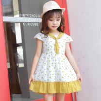 Dress Yellow pink female Heyan 110cm 120cm 130cm 140cm 150cm 160cm Cotton 100% summer Korean version Short sleeve Dot cotton A-line skirt 92015 dots Class B Summer 2020 3 years old, 4 years old, 5 years old, 6 years old, 7 years old, 8 years old, 9 years old, 10 years old, 11 years old, 12 years old