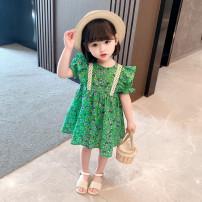 Dress green female Qiopiwa 80cm,90cm,100cm,110cm,120cm,130cm Cotton 95% other 5% summer princess Short sleeve Broken flowers cotton Splicing style xk-006 Class B 9 months, 18 months, 2 years old, 3 years old, 4 years old, 5 years old, 6 years old, 7 years old, 8 years old Chinese Mainland Huzhou City
