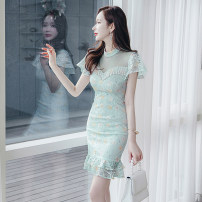 Dress Summer 2021 Mint Green S M L XL Middle-skirt singleton  Short sleeve commute Crew neck High waist Decor zipper One pace skirt Lotus leaf sleeve 25-29 years old Zhiyu Korean version printing More than 95% Lace polyester fiber Polyester 100% Pure e-commerce (online only)