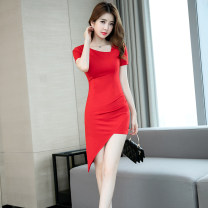 Dress Summer of 2019 gules S M L XL Middle-skirt singleton  Short sleeve commute Crew neck High waist Solid color zipper One pace skirt routine 25-29 years old Zhiyu Korean version Asymmetry 9102-1 More than 95% polyester fiber Polyester 95% polyurethane elastic fiber (spandex) 5%