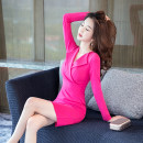 Dress Winter of 2018 rose red S M L XL 2XL Short skirt singleton  Long sleeves commute V-neck High waist Solid color zipper One pace skirt routine 25-29 years old Zhiyu Korean version 8132# 51% (inclusive) - 70% (inclusive) cotton Pure e-commerce (online only)