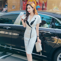 Dress Summer 2020 white S M L XL Middle-skirt Short sleeve commute tailored collar High waist Solid color zipper One pace skirt routine 25-29 years old Zhiyu Ol style Frenulum More than 95% polyester fiber Polyester 95% polyurethane elastic fiber (spandex) 5% Pure e-commerce (online only)
