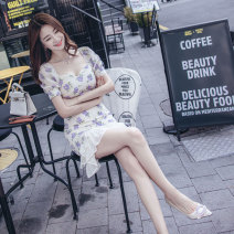 Dress Summer 2021 Decor S M L XL Middle-skirt singleton  Short sleeve commute square neck High waist Decor zipper One pace skirt routine 25-29 years old Zhiyu Korean version Ruffle printing More than 95% polyester fiber Polyester 100% Pure e-commerce (online only)