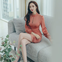 Dress Autumn 2020 orange S M L XL Short skirt singleton  Long sleeves commute Crew neck High waist Solid color zipper One pace skirt routine 25-29 years old Zhiyu Korean version More than 95% polyester fiber Polyester 95% polyurethane elastic fiber (spandex) 5% Pure e-commerce (online only)