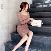 Dress Autumn 2020 Dark pink S M L XL Middle-skirt singleton  Long sleeves commute square neck High waist Solid color zipper One pace skirt routine 25-29 years old Zhiyu Korean version Lace 2505A More than 95% Lace polyester fiber Polyester 97% polyurethane elastic fiber (spandex) 3%