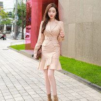 Dress Autumn 2020 Picture color S M L XL Middle-skirt singleton  Long sleeves commute tailored collar High waist lattice zipper One pace skirt routine 25-29 years old Zhiyu Korean version Bandage More than 95% polyester fiber Polyester 97% polyurethane elastic fiber (spandex) 3%