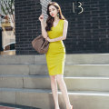 Dress Summer 2020 Fluorescein S M L XL Middle-skirt singleton  Sleeveless commute V-neck High waist Solid color zipper One pace skirt 25-29 years old Zhiyu Ol style 30% and below nylon Pure e-commerce (online only)