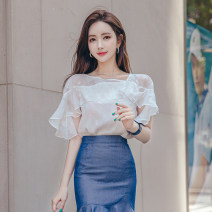Lace / Chiffon Summer 2020 White coat S M L XL Short sleeve commute Socket singleton  Straight cylinder Regular Crew neck pagoda sleeve 25-29 years old Zhiyu 2225 top Korean version Polyester 100% Pure e-commerce (online only)