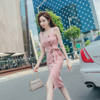 Dress Summer 2020 Lotus root Pink S M L XL Middle-skirt Sleeveless commute square neck High waist Solid color zipper One pace skirt 25-29 years old Zhiyu Korean version Frenulum More than 95% polyester fiber Polyester 95% polyurethane elastic fiber (spandex) 5% Pure e-commerce (online only)