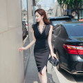 Dress Summer 2020 black S M L XL Middle-skirt singleton  Sleeveless commute V-neck High waist Solid color zipper One pace skirt 25-29 years old Zhiyu Ol style Lace More than 95% polyester fiber Polyester 96% polyurethane elastic fiber (spandex) 4% Pure e-commerce (online only)