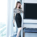 Dress Autumn of 2019 Picture color S M L XL Middle-skirt singleton  Long sleeves commute V-neck High waist Leopard Print zipper One pace skirt routine 25-29 years old Zhiyu Korean version printing More than 95% polyester fiber Polyester 95% polyurethane elastic fiber (spandex) 5%