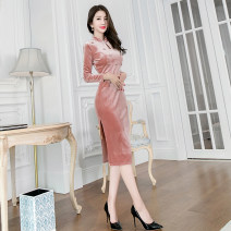 Dress Winter of 2019 Lotus root Pink XL S M L Mid length dress singleton  Long sleeves commute stand collar High waist Solid color zipper One pace skirt routine 30-34 years old Zhiyu Korean version Diamond inlay 91% (inclusive) - 95% (inclusive) polyester fiber Pure e-commerce (online only)