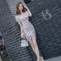 Dress Summer 2021 violet S M L XL Middle-skirt singleton  Short sleeve commute V-neck High waist Decor zipper One pace skirt routine 25-29 years old Zhiyu Korean version printing More than 95% polyester fiber Polyester 100% Pure e-commerce (online only)