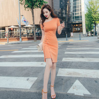 Dress Summer 2020 orange S M L XL Middle-skirt singleton  Short sleeve commute Slant collar High waist Solid color zipper One pace skirt Lotus leaf sleeve 25-29 years old Zhiyu Korean version Button 31% (inclusive) - 50% (inclusive) nylon Pure e-commerce (online only)
