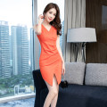 Dress Summer of 2019 Orange S M L XL Short skirt singleton  Sleeveless commute V-neck High waist Solid color zipper One pace skirt 25-29 years old Zhiyu Korean version More than 95% polyester fiber Polyester 95% polyurethane elastic fiber (spandex) 5% Pure e-commerce (online only)