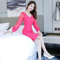 Dress Autumn of 2019 rose red S M L XL Middle-skirt singleton  Long sleeves commute V-neck High waist Solid color zipper One pace skirt routine 25-29 years old Zhiyu Korean version 91% (inclusive) - 95% (inclusive) nylon Polyamide fiber (nylon) 92% polyurethane elastic fiber (spandex) 8%
