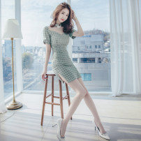 Dress Summer 2021 green S M L XL Middle-skirt singleton  Short sleeve commute Crew neck High waist lattice zipper One pace skirt 25-29 years old Zhiyu Korean version More than 95% other Other 100% Pure e-commerce (online only)