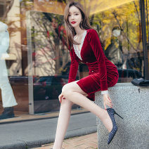 Dress Winter 2020 claret S M L XL Middle-skirt singleton  Long sleeves commute V-neck High waist Solid color zipper One pace skirt routine 25-29 years old Zhiyu Korean version Lace 91% (inclusive) - 95% (inclusive) polyester fiber Polyester 92% polyurethane elastic fiber (spandex) 8%