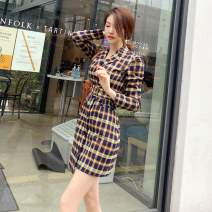 Dress Autumn 2020 lattice S M L XL Middle-skirt singleton  Long sleeves commute tailored collar High waist lattice zipper One pace skirt routine 25-29 years old Zhiyu Ol style More than 95% polyester fiber Polyester 97% polyurethane elastic fiber (spandex) 3% Pure e-commerce (online only)