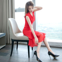 Dress Summer of 2019 gules S M L XL Mid length dress singleton  Sleeveless commute V-neck High waist Solid color zipper One pace skirt other 25-29 years old Zhiyu Korean version fungus More than 95% polyester fiber Polyester fiber 98.1% polyurethane elastic fiber (spandex) 1.9%
