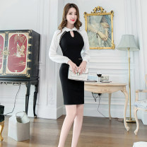 Dress Winter of 2019 black S M L XL Middle-skirt singleton  Long sleeves commute Doll Collar High waist Solid color zipper One pace skirt routine 25-29 years old Zhiyu Ol style 31% (inclusive) - 50% (inclusive) nylon Pure e-commerce (online only)